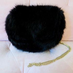 Black Faux Fur Purse